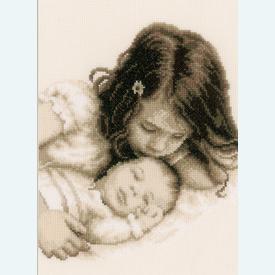 Baby and Sister - borduurpakket met telpatroon Vervaco |  | Artikelnummer: vvc-148435