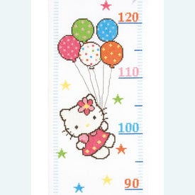 Growing Chart: Hello Kitty - borduurpakket met telpatroon Vervaco  | Groeimeter met Hello Kitty | Artikelnummer: vvc-148210