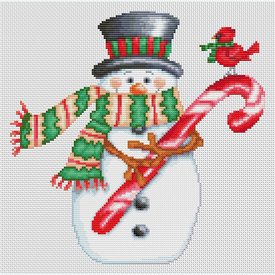 Candy Cane Snowman - Borduurpakket met telpatroon Orcraphics |  | Artikelnummer: orc-2018-02-46