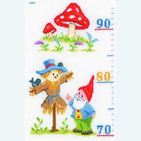 Growing Chart: Merry Gnomes - borduurpakket met telpatroon Vervaco | Groeimeter met kaboutertjes | Artikelnummer: vvc-145167