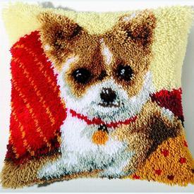 Chihuahua - knoopkussen Vervaco | Smyrna kussen met Chihuahua | Artikelnummer: vvc-2560-3617