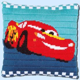 Lightning McQueen - Cars Disney platsteek kussen - Vervaco  | Handwerkpakket voor kinderen om zelf te maken | Artikelnummer: vvc-169171