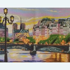 Paris Scene - bundel van geschilderd stramien + borduurwol, te borduren in halve kruissteek |  | Artikelnummer: rp-132-232-bundel