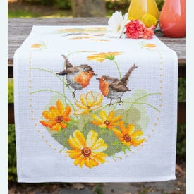 Robins and Flowers tafelloper -  Tafelloper met telpatroon Vervaco |  | Artikelnummer: vvc-161964