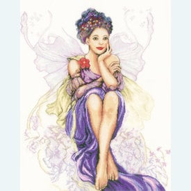 Girl with Butterflies - borduurpakket met telpatroon Lanarte |  | Artikelnummer: ln-150005