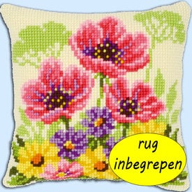 Flower Field with Poppies MET RUG - Vervaco Kruissteekkussen |  | Artikelnummer: vvc-143708-rug
