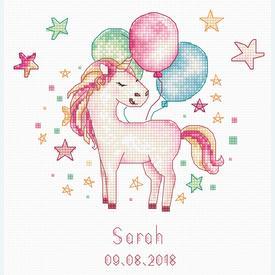 Unicorn - geboortepakket met telpatroon Luca-S |  | Artikelnummer: luca-b1149