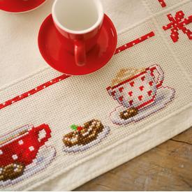 Coffee Break theenap - kruissteekpakket met telpatroon Vervaco |  | Artikelnummer: vvc-149144