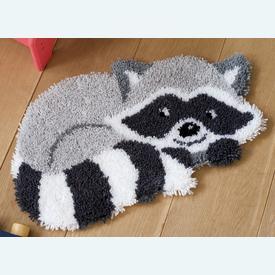 Raccoon - knooptapijt Vervaco | Smyrna tapijt met wasbeertje | Artikelnummer: vvc-156421