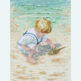 Boy with Horseshoe Crab - borduurpakket met telpatroon Janlynn |  | Artikelnummer: jl-029.0047