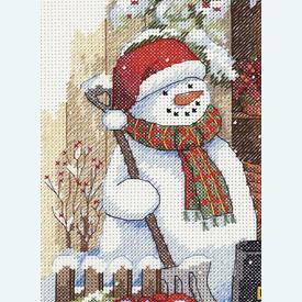 Garden Shed Snowman - borduurpakket met telpatroon Dimensions      Artikelnummer: dim-70-08817
