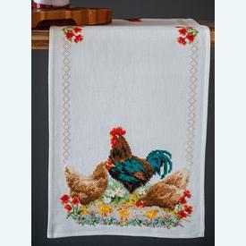 Rooster and Chickens tafelloper -  borduurpakket met telpatroon Vervaco |  | Artikelnummer: vvc-172772