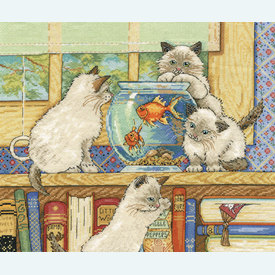 Goldfish Cats - borduurpakket met telpatroon Design Works |  | Artikelnummer: dw-2924
