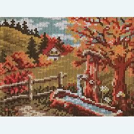 Autumn Landscape - bundel van geschilderd stramien + borduurwol, te borduren in halve kruissteek      Artikelnummer: vvc-563