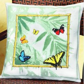 Bamboo Butterflies - borduurpakket met telpatroon Janlynn |  | Artikelnummer: jl-013.0335