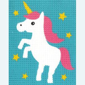 Unicorn - halve kruissteekpakket Vervaco | Handwerkpakket voor kinderen, te borduren op geschilderd stramien, in halve kruissteek  | Artikelnummer: vvc-171624
