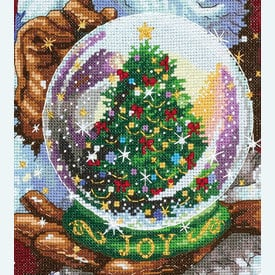 Santa's Snow Globe Stocking - borduurpakket met telpatroon Dimensions |  | Artikelnummer: dim-70-08985