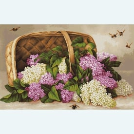 Basket of Lilacs - kruissteekpakket met telpatroon Luca-S |  | Artikelnummer: luca-b501
