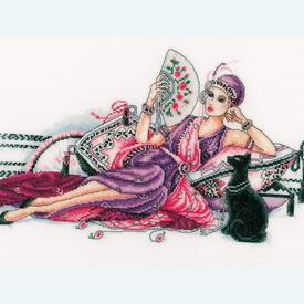 Deco Lady with Cat - borduurpakket met telpatroon Vervaco |  | Artikelnummer: vvc-60325