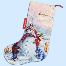 Merry Christmas Stocking - borduurpakket met telpatroon Luca-S |  | Artikelnummer: luca-PM1241