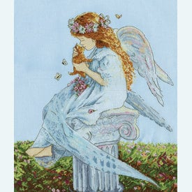 Angel with Kitten - borduurpakket met telpatroon Design Works |  | Artikelnummer: dw-2869
