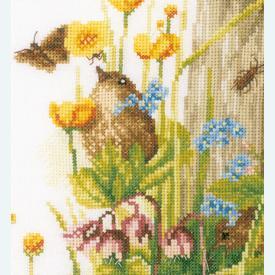 Cozy Garden Corner - borduurpakket met telpatroon Lanarte |  | Artikelnummer: ln-180560