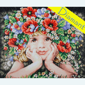 Girl with Flowers - Diamond Painting pakket - Lanarte |  | Artikelnummer: ln-188130