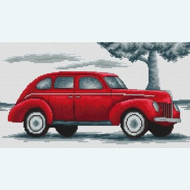 Retro Car Red Dodge - borduurpakket met telpatroon Luca-S |  | Artikelnummer: luca-b2237