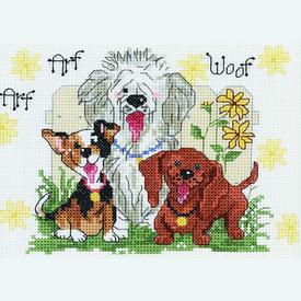 Dogs of Duckport - borduurpakket met telpatroon Janlynn      Artikelnummer: jl-038.0204