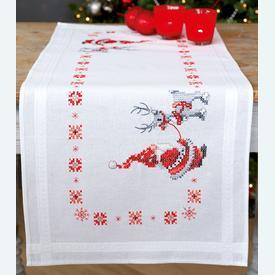 Christmas Elves loper - voorgedrukt borduurpakket - Vervaco |  | Artikelnummer: vvc-150617