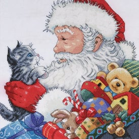 Santa with Kitten - borduurpakket met telpatroon Design Works |  | Artikelnummer: dw-5977