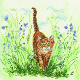 Cat in Grass - borduurpakket met telpatroon Lanarte - aida |  | Artikelnummer: ln-34767a