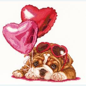 Valentine's Puppy - Borduurpakket met telpatroon Thea Gouverneur |  | Artikelnummer: gouv-739