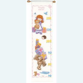 Popcorn - Growing Chart: Birthday - Borduurpakket met telpatroon | Groeimeter met Popcorn beertje | Artikelnummer: pop-148089