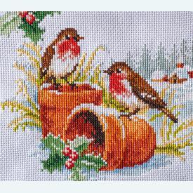 Robins in Winter tafelloper -  borduurpakket met telpatroon Vervaco      Artikelnummer: vvc-147403