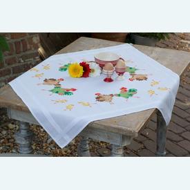 Chicken Family theenap - voorgedrukt borduurpakket - Vervaco |  | Artikelnummer: vvc-150558