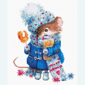Christmas Mouse - borduurpakket met telpatroon Luca-S |  | Artikelnummer: luca-b1168