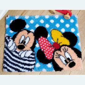 Peek-a-boo - Disney - knooptapijt Vervaco  | Smyrna tapijt met Minnie en Mickey Mouse | Artikelnummer: vvc-167700