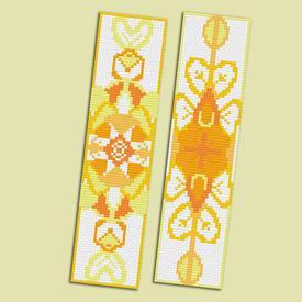 Set van 2 bladwijzers - Mandala Yellow - borduurpakketten met telpatroon Nafra |  | Artikelnummer: nf-nafra21044