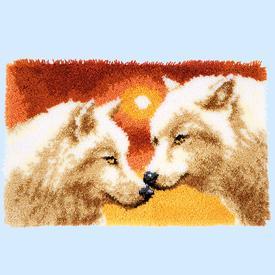 Wolves at Sunset - knooptapijt Vervaco | Smyrna tapijt met wolven | Artikelnummer: vvc-156064