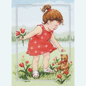 Tulips for Teddy - borduurpakket met telpatroon Janlynn |  | Artikelnummer: jl-029.0059