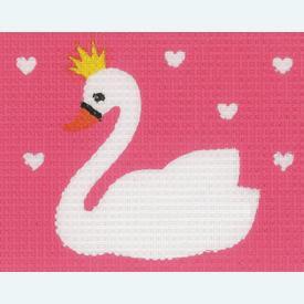 Swan - halve kruissteekpakket Vervaco | Handwerkpakket voor kinderen, te borduren op geschilderd stramien, in halve kruissteek  | Artikelnummer: vvc-179604