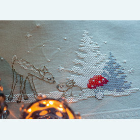 Deer and Rabbit in snowy Landscape loper - voorgedrukt borduurpakket - Vervaco |  | Artikelnummer: vvc-180121