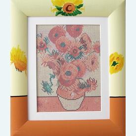 Sun Flowers - bundel van geschilderd stramien + garen + lijst, te borduren in halve kruissteek  |  | Artikelnummer: or-1132-bundel
