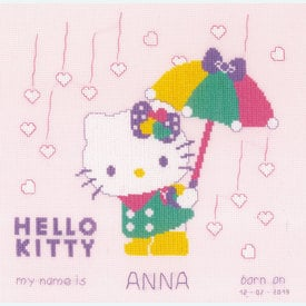 Hello Kitty - Shower of Hearts - kruissteekpakket met telpatroon Vervaco |  | Artikelnummer: vvc-172797