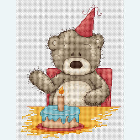 Teddy Bruno - Happy Birthday - borduurpakket met telpatroon Luca-S |  | Artikelnummer: luca-b1040