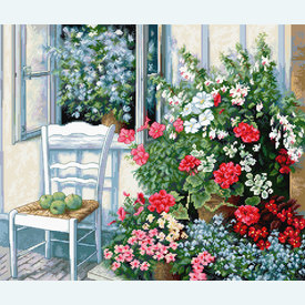 Flowers at the Window - borduurpakket met telpatroon Luca-S |  | Artikelnummer: luca-bu4017