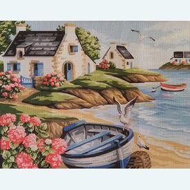 Seashore - bundel van geschilderd stramien + borduurwol, te borduren in halve kruissteek |  | Artikelnummer: rp-132-121-bundel
