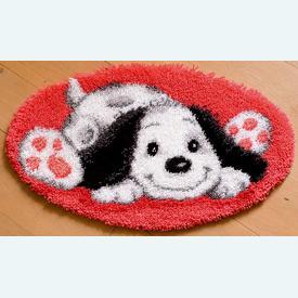 Playful Puppy - knooptapijt Vervaco | Smyrna tapijt met glimlachend hondje | Artikelnummer: vvc-143941
