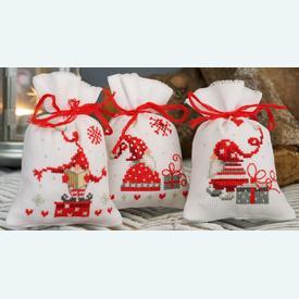 Assortiment kruidenzakjes - Singing Christmas Gnomes - Handwerkpakketjes met telpatroon Vervaco |  | Artikelnummer: vvc-165994